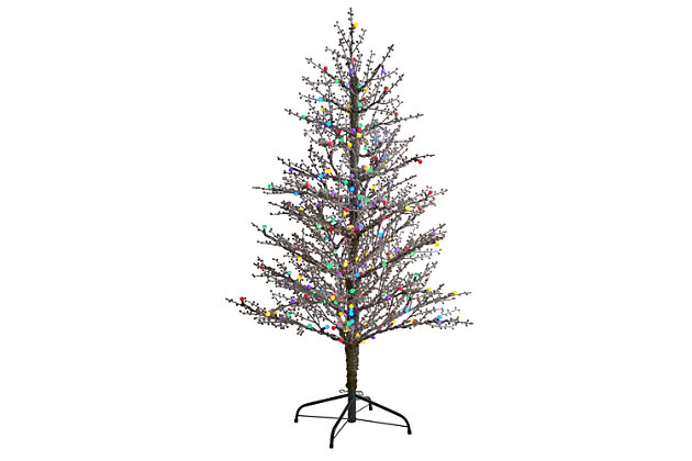 Sterling 5' Frosted Berry Twig Artificial Christmas Tree with 200 Multicolored Gum Ball LED Lights and 386 Bendable Branches, , large