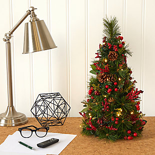 Sterling 2' Mixed Berry and Pine Cone Artificial Christmas Tree with 35 Clear LED Lights, , rollover