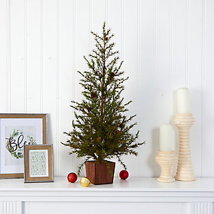 """Sterling 3' Alpine """"Natural Look"""" Artificial Christmas Tree in Wood Planter with Pine Cones, , rollover"""