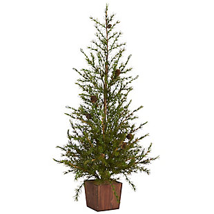 """Sterling 3' Alpine """"Natural Look"""" Artificial Christmas Tree in Wood Planter with Pine Cones, , large"""