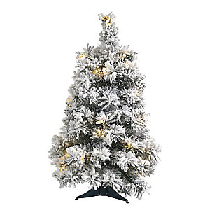 Sterling 2' Flocked Artificial Christmas Tree with 30 Clear LED Lights, , large