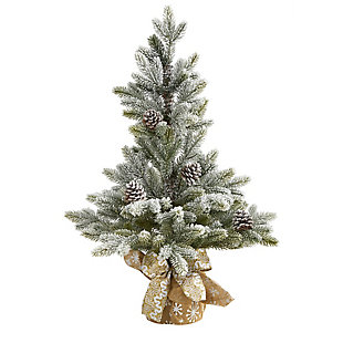 "Sterling 28"" Flocked Artificial Christmas Tree with Pine Cones, , large"