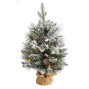Sterling 2' Flocked Artificial Christmas Tree with 30 Clear Lights, 73 Bendable Branches, Pine Cones and Berries, , large