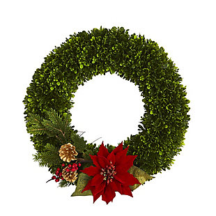 "Sterling 18"" Tea Leaf, Poinsettia and Pine Artificial Wreath, , large"