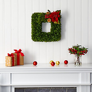 """Sterling 16"""" Tea Leaf and Poinsettia Artificial Square Wreath, , rollover"""