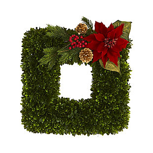 """Sterling 16"""" Tea Leaf and Poinsettia Artificial Square Wreath, , large"""