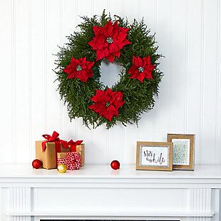 "Sterling 24"" Cedar and Poinsettia Artificial Wreath, , rollover"
