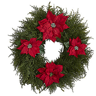 """Sterling 24"""" Cedar and Poinsettia Artificial Wreath, , large"""