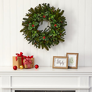 "Sterling 22"" Pine, Pinecone and Variegated Holly Leaf Artificial Wreath, , rollover"