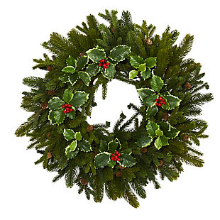 "Sterling 22"" Pine, Pinecone and Variegated Holly Leaf Artificial Wreath, , large"