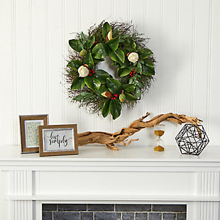"""Sterling 20"""" Cedar, Ruscus and Magnolia with Berries Artificial Wreath, , rollover"""