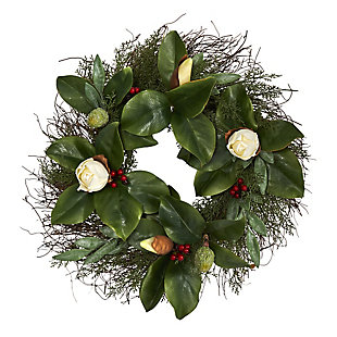 """Sterling 20"""" Cedar, Ruscus and Magnolia with Berries Artificial Wreath, , large"""