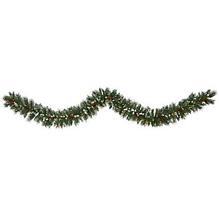 Sterling 9' Frosted Swiss Pine Artificial Garland with 50 Clear LED Lights and Berries, , large