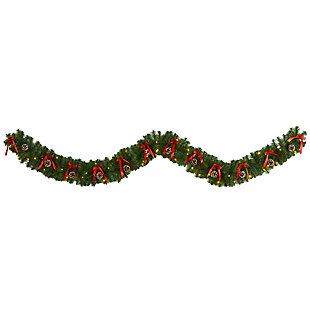 Sterling 9' Bow and Pinecone Artificial Christmas Garland with 35 Clear LED Lights, , large