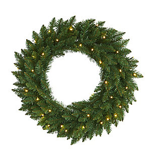 """Sterling 24"""" Green Pine Artificial Christmas Wreath with 35 Clear LED Lights, , rollover"""