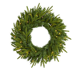 "Sterling 24"" Long Pine Artificial Christmas Wreath with 35 Clear LED Lights, , rollover"