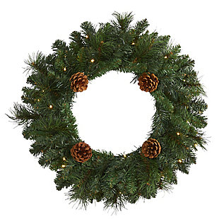 """Sterling 20"""" Pine Artificial Christmas Wreath with 35 LED Lights and Pinecones, , rollover"""