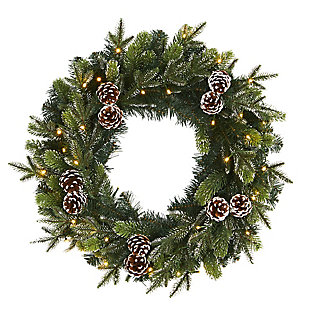 "Sterling 24"" Snowed Pinecone Artificial Christmas Wreath with 35 Clear LED Lights, , rollover"