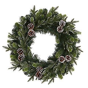 "Sterling 24"" Snowed Pinecone Artificial Christmas Wreath with 35 Clear LED Lights, , large"