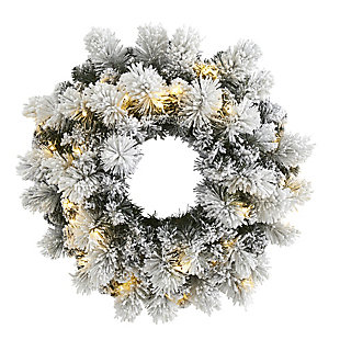 """Sterling 24"""" Flocked Artificial Christmas Wreath with 30 Warm White LED Lights and 135 Bendable Branches, , large"""