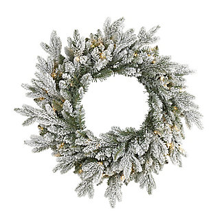 "Sterling 24"" Flocked Artificial Christmas Wreath with 50 LED Lights, , large"