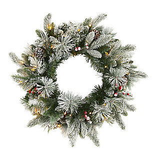"Sterling 20"" Flocked Mixed Pine Artificial Christmas Wreath with 50 LED Lights, Pine Cones and Berries, , large"