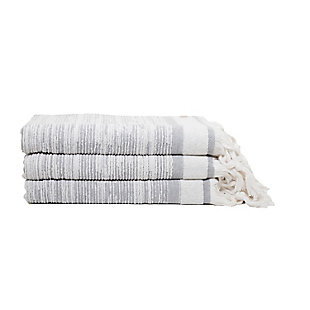 Ivy Luxury Maine Bath Towel Pack of 3 (Gray/White), Gray/White, large