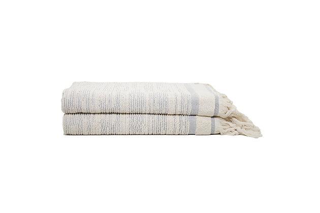 Ivy Luxury Maine Bath Sheet Towel Pack of 2 (Cloud/Ecru), Cloud/Ecru, large
