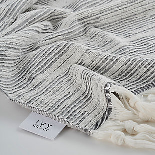 Ivy Luxury Maine Towel Set of 3 (Gray/White), Gray/White, rollover