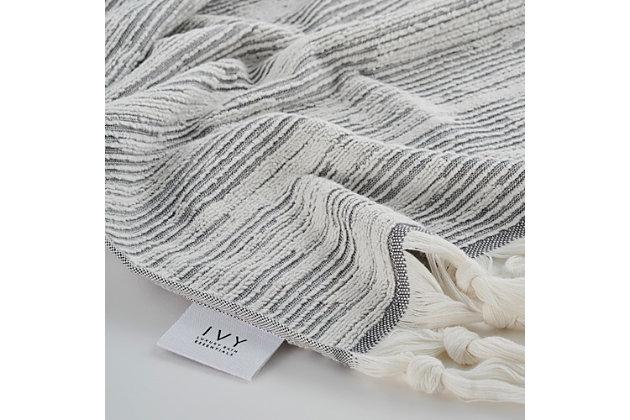 Ivy Luxury Maine Towel Set of 3 (Gray/White), Gray/White, large