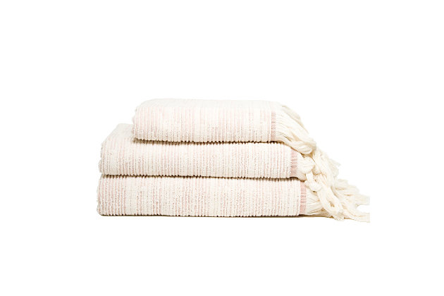 Ivy Luxury Maine Towel Set of 3 (Terra/Ecru), Terra/Ecru, large