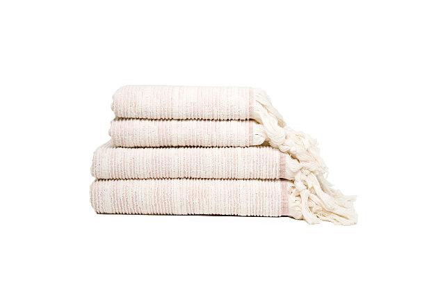Ivy Luxury Maine Towel Set of 4 (Terra/Ecru), Terra/Ecru, large
