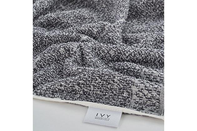 Ivy Luxury Hitit Jacquard Yarn Dyed Turkish Hand Towels Pack of 4 (Gray/White), Gray/White, large