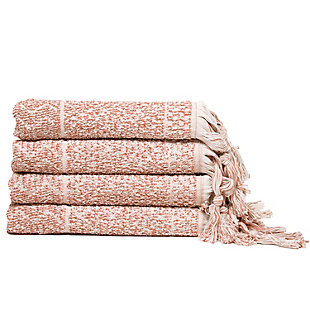 Ivy Luxury Hitit Jacquard Yarn Dyed Turkish Hand Towels Pack of 4 (Heather/Ecru), Terra/Ecru, large