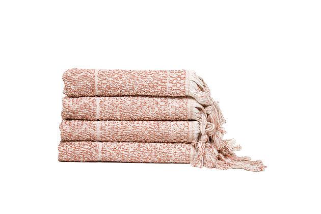 Ivy Luxury Hitit Jacquard Yarn Dyed Turkish Hand Towels Pack of 4 (Heather/Ecru), Terra/Ecru, large