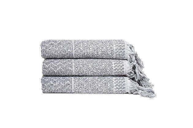 Ivy Luxury Hitit Jacquard Yarn Dyed Turkish Bath Towels Pack of 3 (Gray/White), Gray/White, large