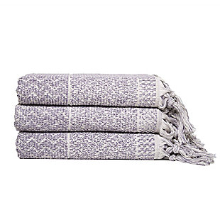 Ivy Luxury Hitit Jacquard Yarn Dyed Turkish Bath Towels Pack of 3 (Heather/Ecru), Heather/Ecru, large