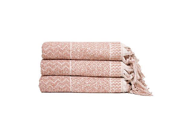 Ivy Luxury Hitit Jacquard Yarn Dyed Turkish Bath Towels Pack of 3 (Terra/Ecru), Terra/Ecru, large