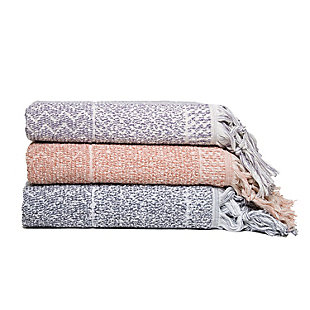 Ivy Luxury Hitit Jacquard Yarn Dyed Turkish Bath Towels Pack of 3 (Assorted), Multi, rollover