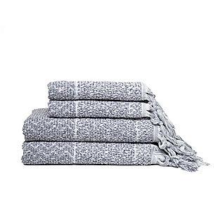Ivy Luxury Hitit Jacquard Yarn Dyed Turkish Towel Set of 4 (Gray/White), Gray/White, large