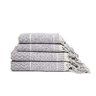Ivy Luxury Hitit Jacquard Yarn Dyed Turkish Towel Set of 4 (Heather/Ecru), Heather/Ecru, large