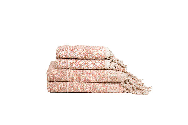 Ivy Luxury Hitit Jacquard Yarn Dyed Turkish Towel Set of 4 (Terra/Ecru), Terra/Ecru, large