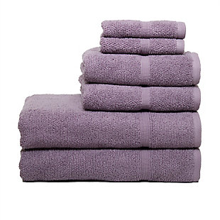 Ivy Luxury Rice Effect Turkish Aegean Cotton Towel Set of 6 (Heather), Heather, large