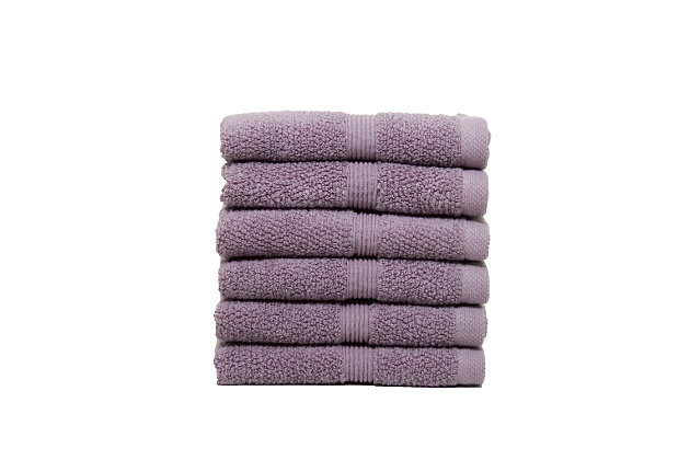 Ivy Luxury Rice Effect Turkish Aegean Cotton Washclosths Towel Pack of 6 (Heather), Heather, large