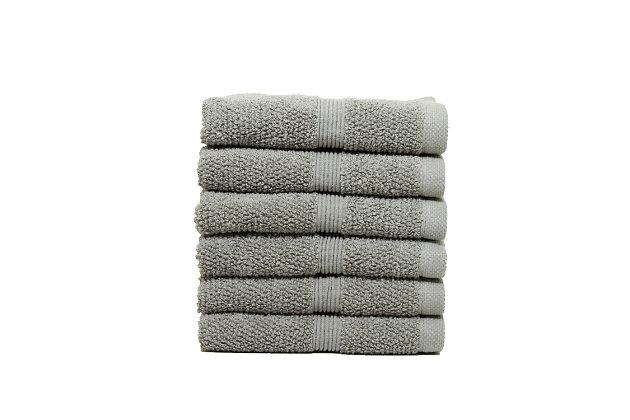 Ivy Luxury Rice Effect Turkish Aegean Cotton Washclosths Towel Pack of 6 (Elephant), Elephant, large