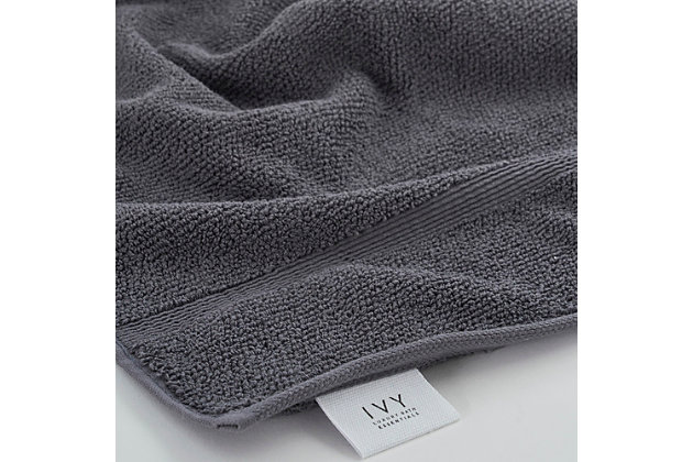 Ivy Luxury Rice Effect Turkish Aegean Cotton Hand Towel Pack of 6 (Storm Gray), Storm Gray, large