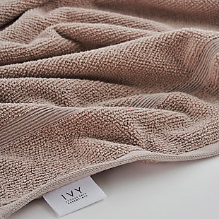 Ivy Luxury Rice Effect Turkish Aegean Cotton Bath Towel Pack of 3 (Smoked Mauve), Smoked Mauve, large