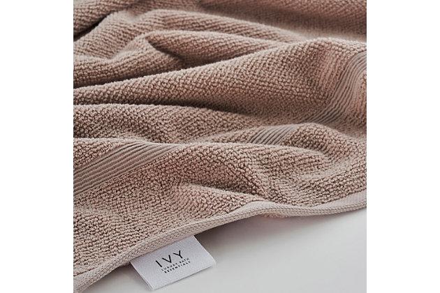 Ivy Luxury Rice Effect Turkish Aegean Cotton Towel Set of 16 (Smoked Mauve), Smoked Mauve, large