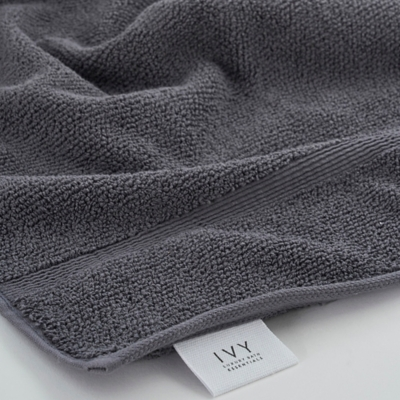 Ivy Luxury Rice Effect Turkish Aegean Cotton Towel Set of 16 (Storm Gray), Storm Gray, large