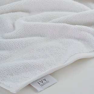 Ivy Luxury Rice Effect Turkish Aegean Cotton Towel Set of 16 (White), White, large